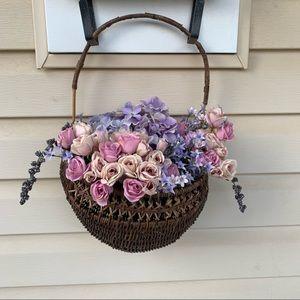 Boho farmhouse wicker front door floral basket